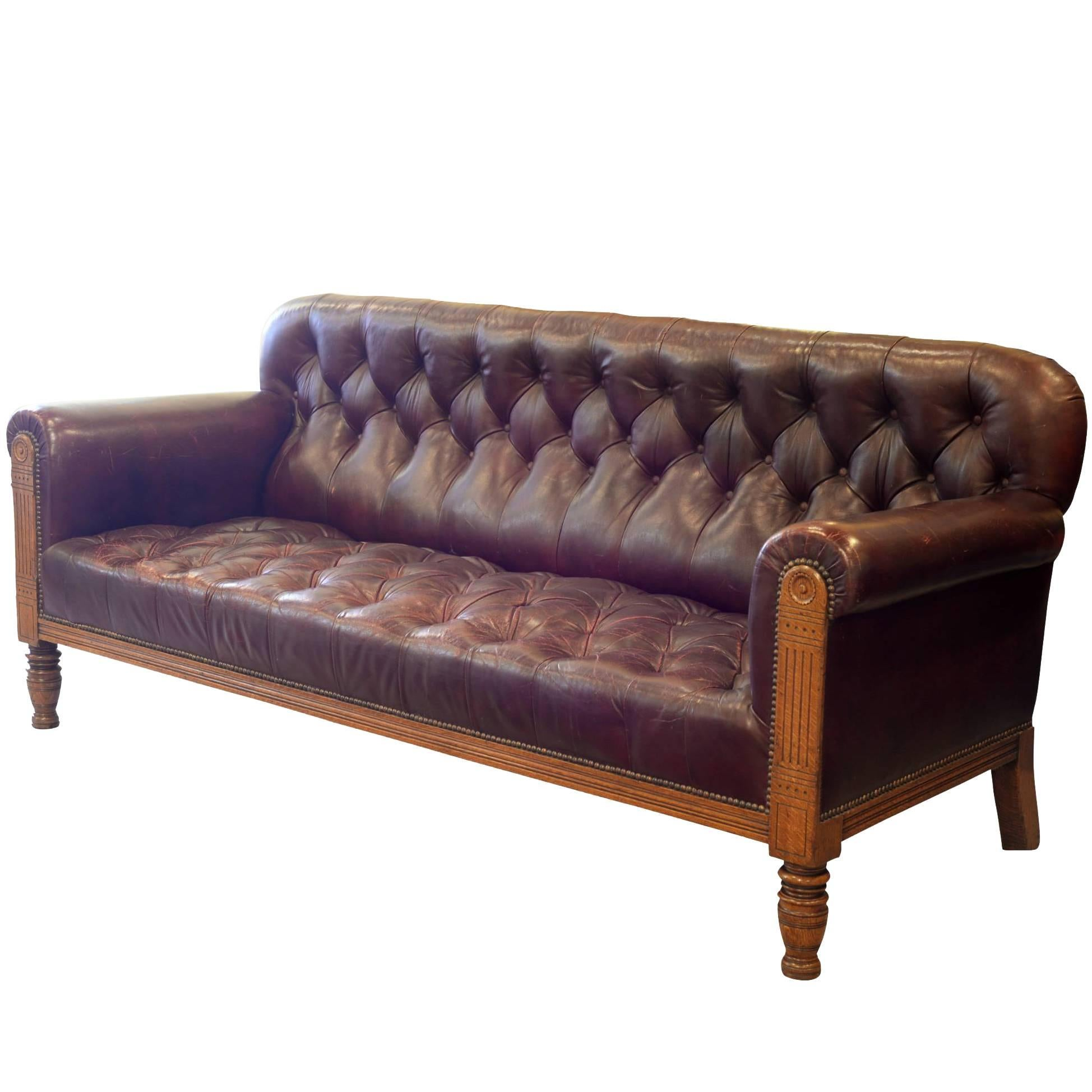 Burgundy Leather And Oak Mid Victorian Sofa For Sale