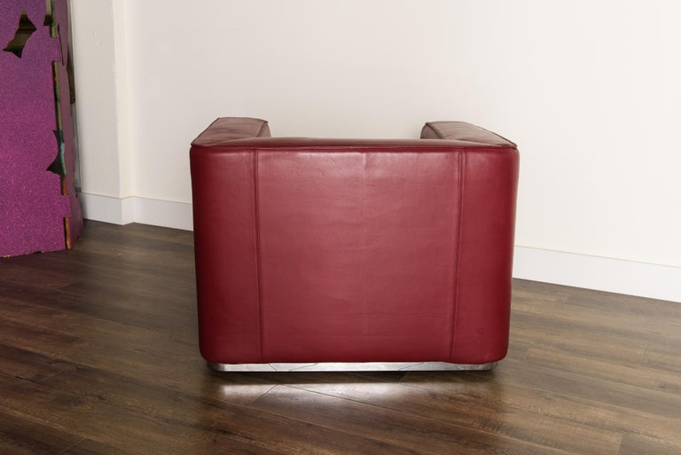 Burgundy Leather 'Blox' Club Chairs by Jehs + Laub for Cassina, 2002, Signed For Sale 4