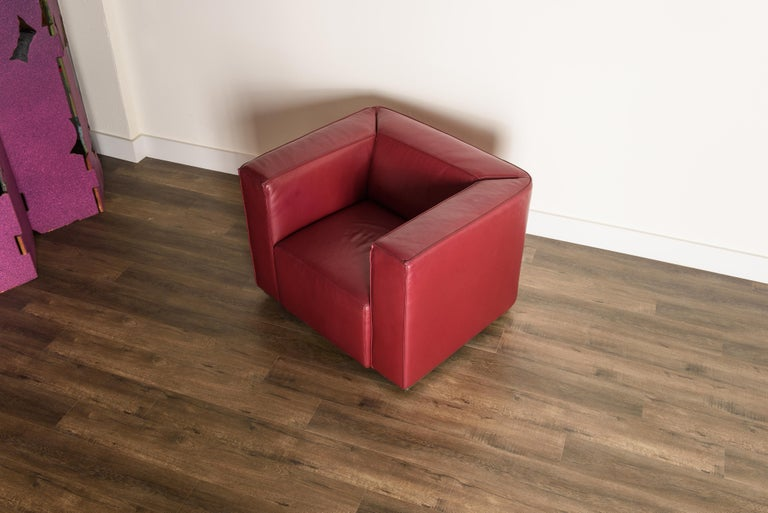 Burgundy Leather 'Blox' Club Chairs by Jehs + Laub for Cassina, 2002, Signed For Sale 5