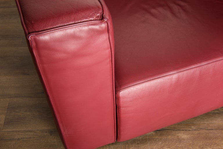 Burgundy Leather 'Blox' Club Chairs by Jehs + Laub for Cassina, 2002, Signed For Sale 6