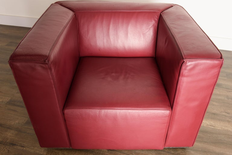 Burgundy Leather 'Blox' Club Chairs by Jehs + Laub for Cassina, 2002, Signed For Sale 9