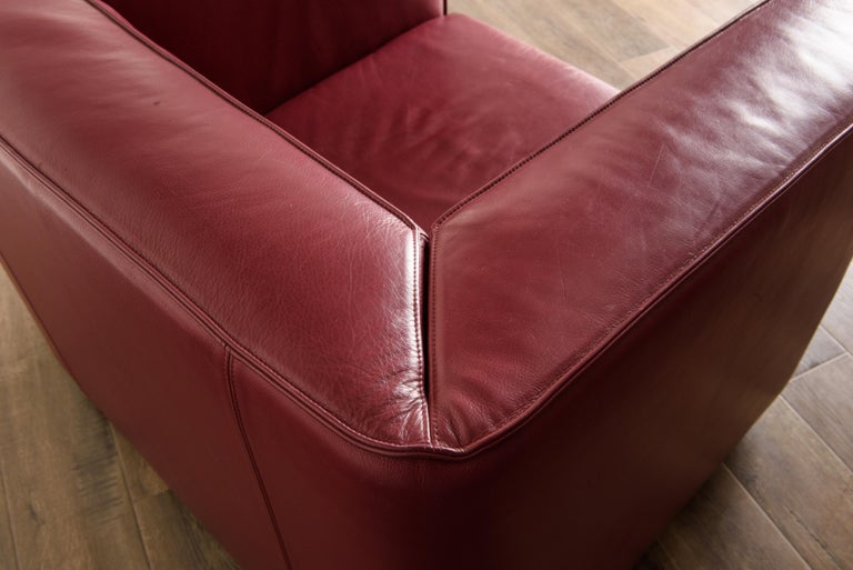 Burgundy Leather 'Blox' Club Chairs by Jehs + Laub for Cassina, 2002, Signed For Sale 10