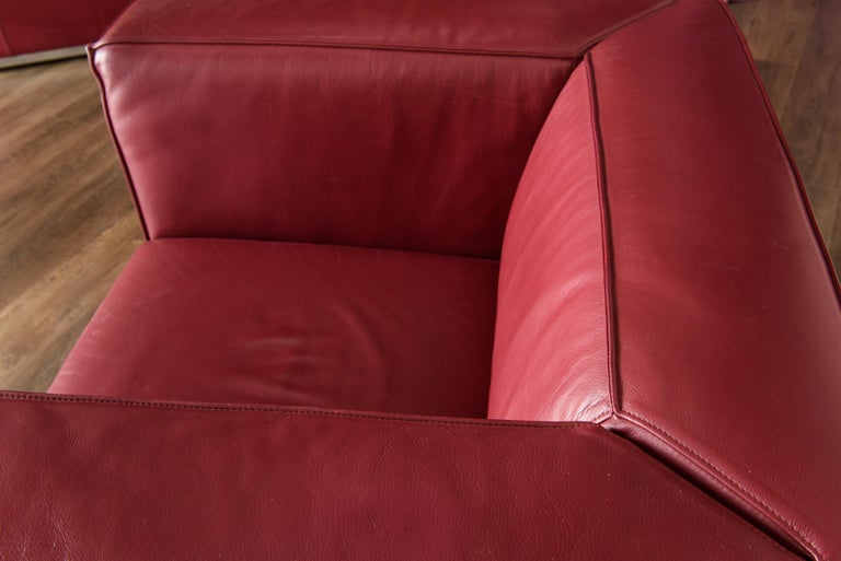 Burgundy Leather 'Blox' Club Chairs by Jehs + Laub for Cassina, 2002, Signed For Sale 12