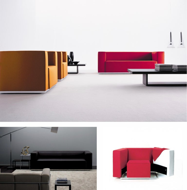 Burgundy Leather 'Blox' Club Chairs by Jehs + Laub for Cassina, 2002, Signed For Sale 14
