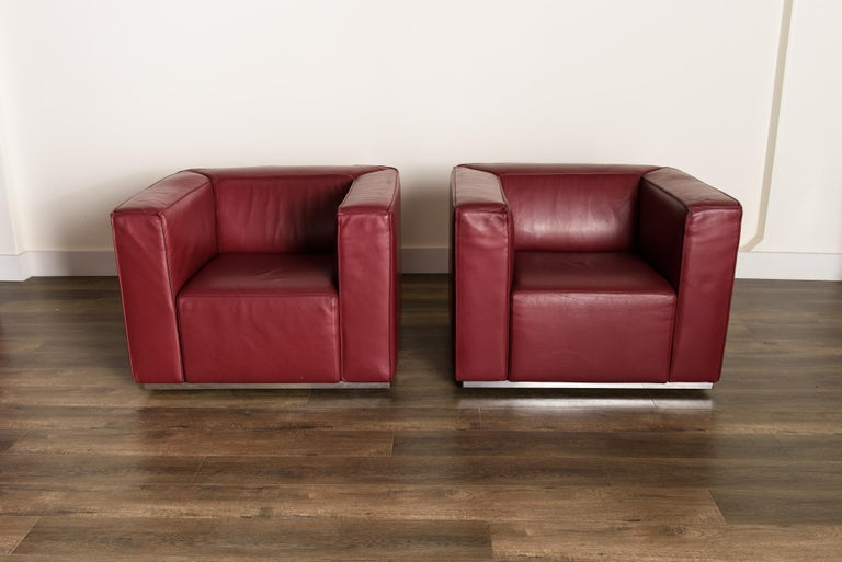 Modern Burgundy Leather 'Blox' Club Chairs by Jehs + Laub for Cassina, 2002, Signed For Sale