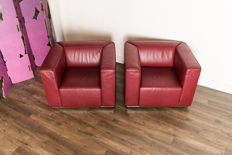 Italian Burgundy Leather 'Blox' Club Chairs by Jehs + Laub for Cassina, 2002, Signed For Sale
