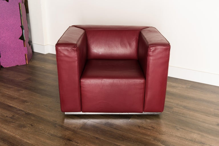 Contemporary Burgundy Leather 'Blox' Club Chairs by Jehs + Laub for Cassina, 2002, Signed For Sale