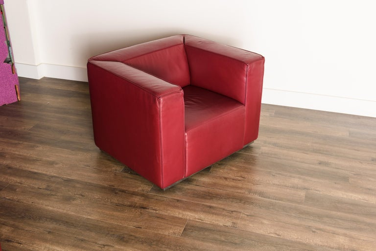 Burgundy Leather 'Blox' Club Chairs by Jehs + Laub for Cassina, 2002, Signed For Sale 1