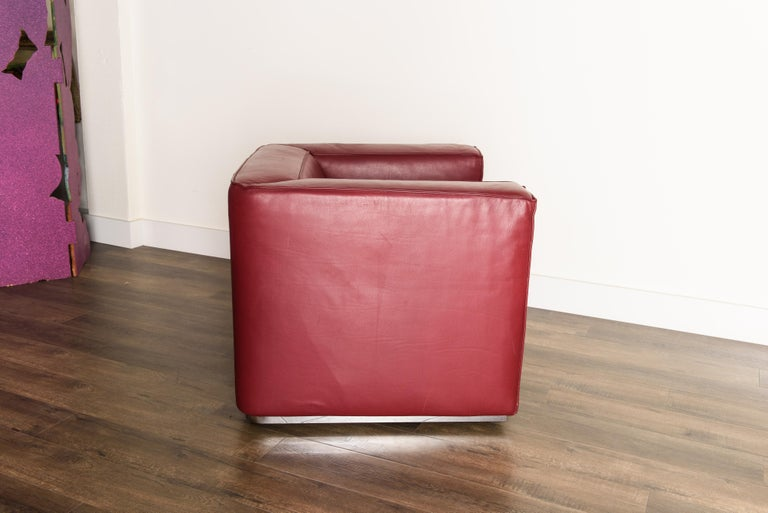 Burgundy Leather 'Blox' Club Chairs by Jehs + Laub for Cassina, 2002, Signed For Sale 2