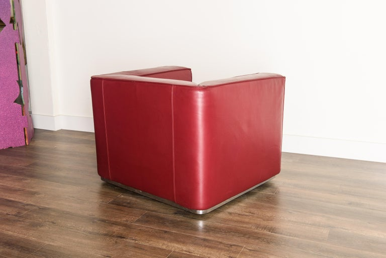 Burgundy Leather 'Blox' Club Chairs by Jehs + Laub for Cassina, 2002, Signed For Sale 3