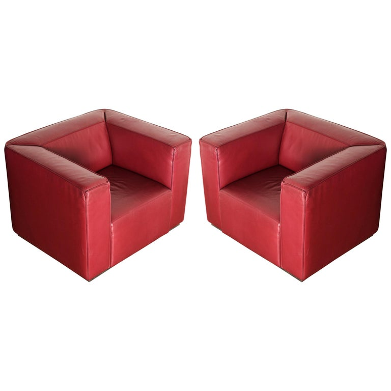 Burgundy Leather 'Blox' Club Chairs by Jehs + Laub for Cassina, 2002, Signed For Sale