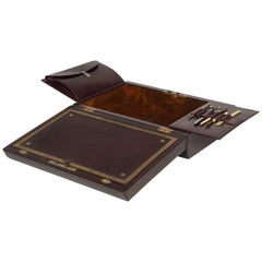 Burgundy Leather Bound Writing and Stationery Box with Fitted Brass Handle