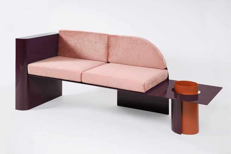European Burgundy Modern Sofa in Powder-Coated Steel with Planter Side Table For Sale