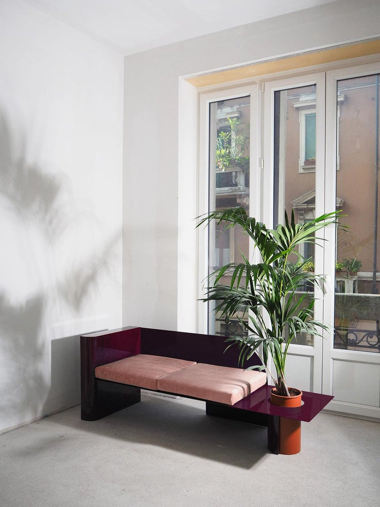 Burgundy Modern Sofa in Powder-Coated Steel with Planter Side Table For Sale 1