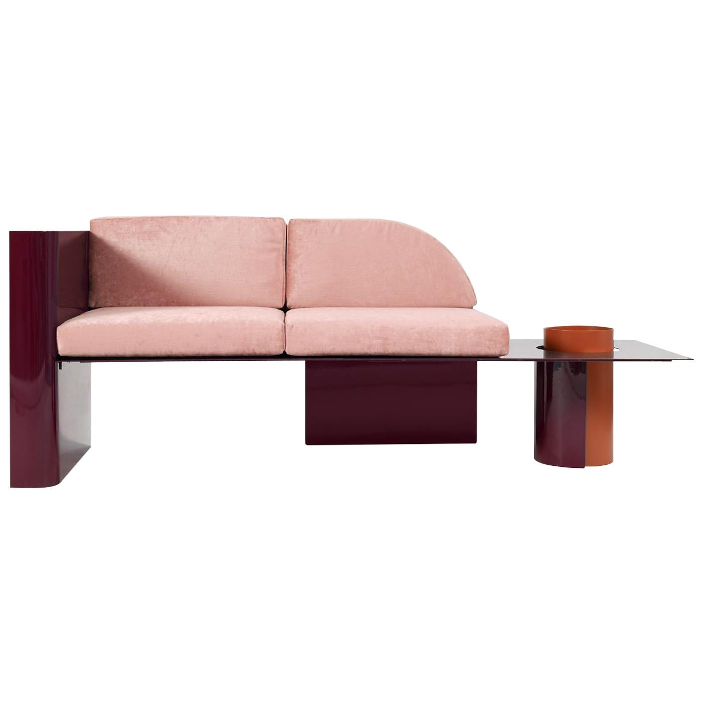 Burgundy Modern Sofa in Powder-Coated Steel with Planter Side Table