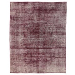 Burgundy Overdyed Distressed Vintage Turkish Rug with Industrial Luxe Style