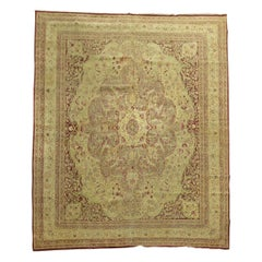 Burgundy Pistachio Green Antique Indian Amritsar Room Size Rug