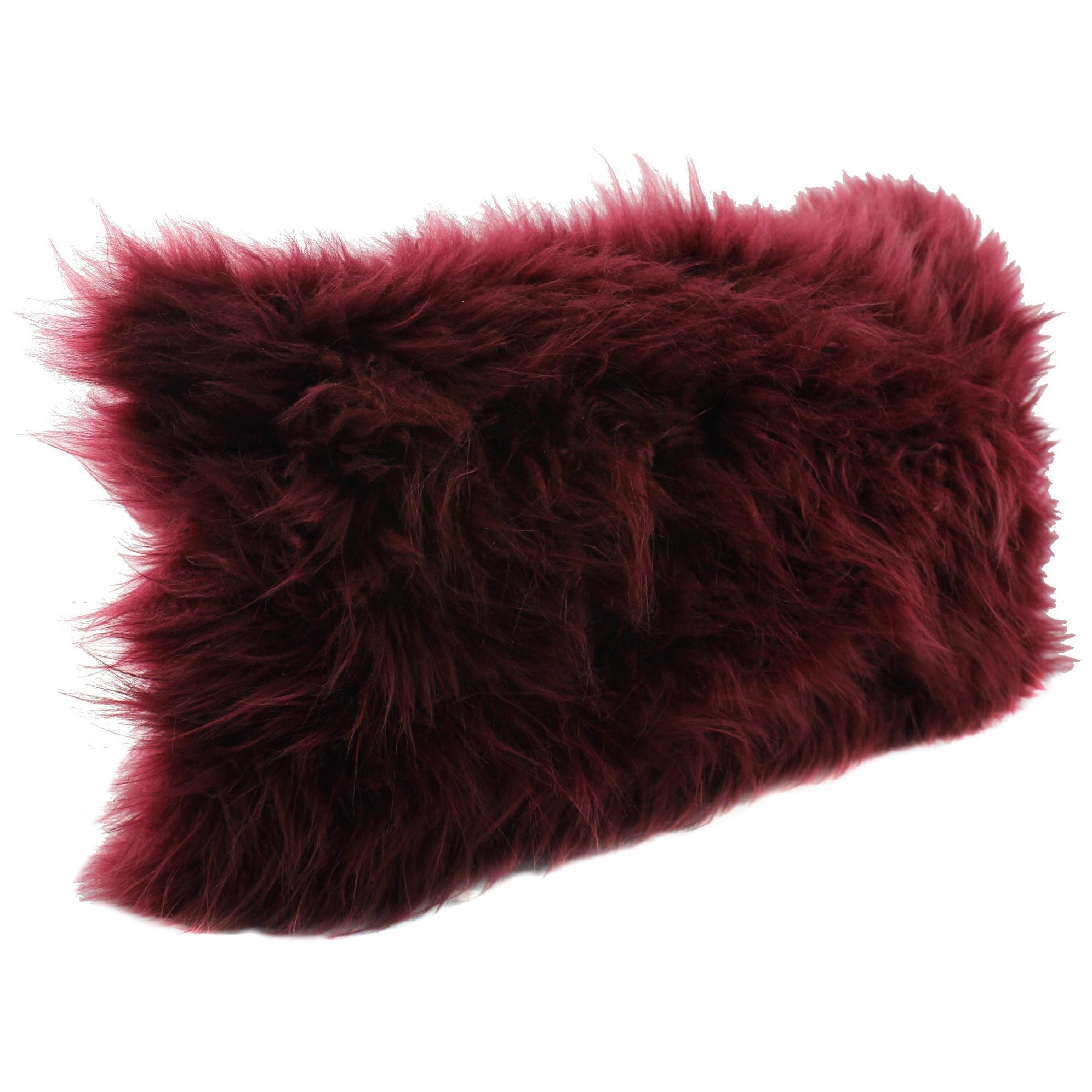 Burgundy Red Cashmere Fur Pillow Cushion