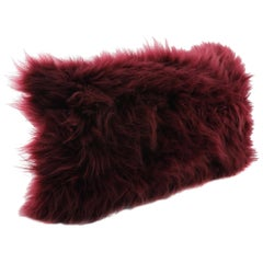 Burgundy Red Cashmere Fur Pillow Cushion