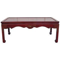 Chinoiserie Coffee Table Hand Decorated in Dark Red with a Gilt Floral Design