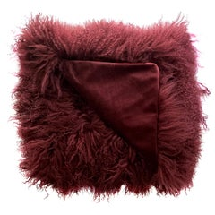 Burgundy Red Fur Throw Blanket, Mongolian Fur