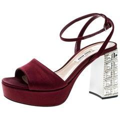 Burgundy Satin Crystal Embellished Block Heel Ankle Strap Sandals Size 36