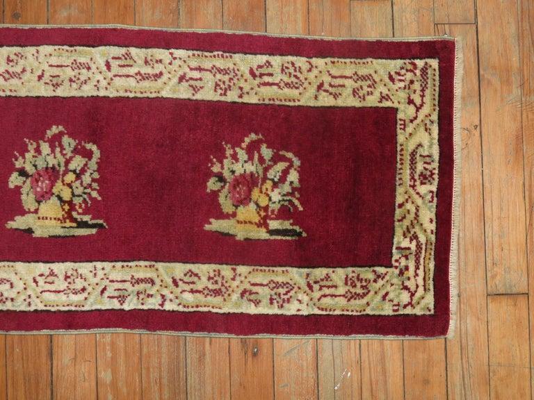 Kirman Burgundy Small Size Turkish Floral Rug For Sale