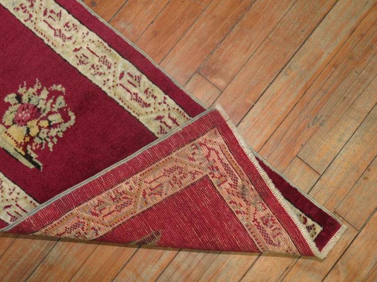 Hand-Woven Burgundy Small Size Turkish Floral Rug For Sale