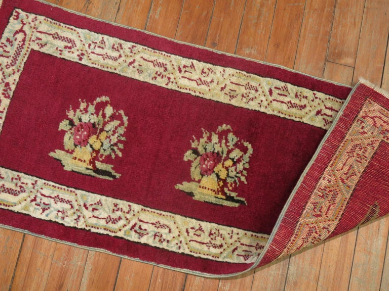 Burgundy Small Size Turkish Floral Rug In Good Condition For Sale In New York, NY