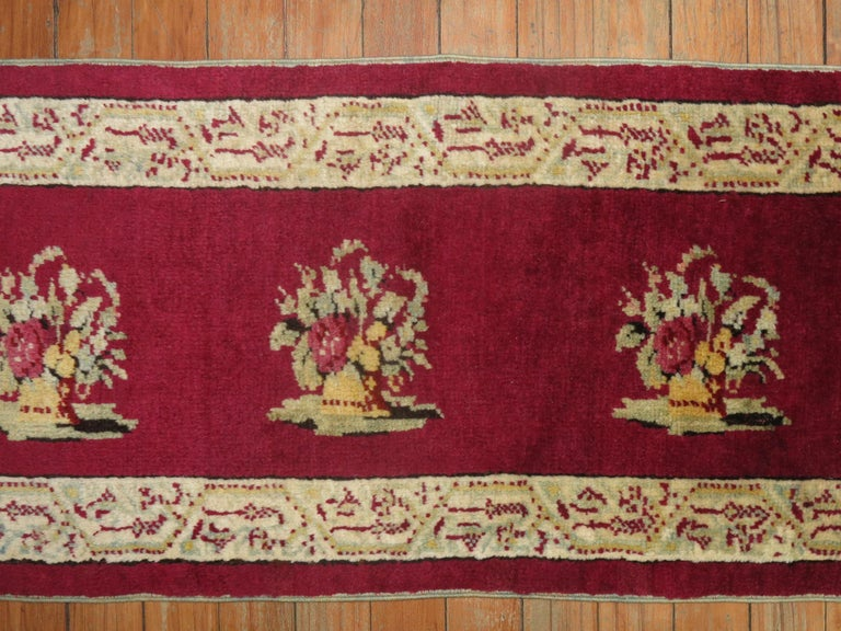20th Century Burgundy Small Size Turkish Floral Rug For Sale