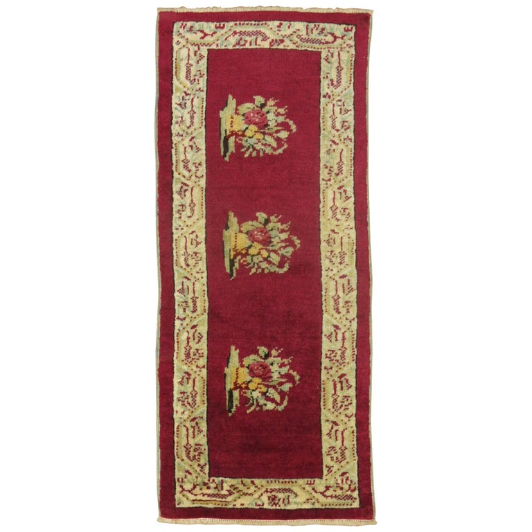 Burgundy Small Size Turkish Floral Rug For Sale