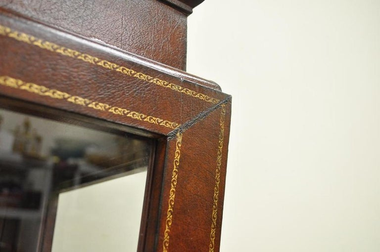 20th Century Burgundy Tooled Leather Glass Display Case Curio Stand Pedestal Maitland-Smith For Sale