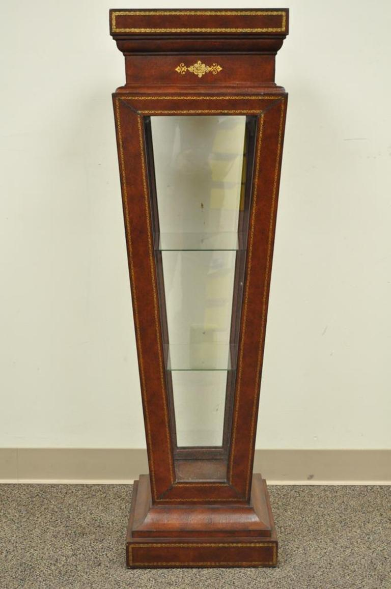 Burgundy Tooled Leather Glass Display Case Curio Stand Pedestal Maitland-Smith For Sale 2