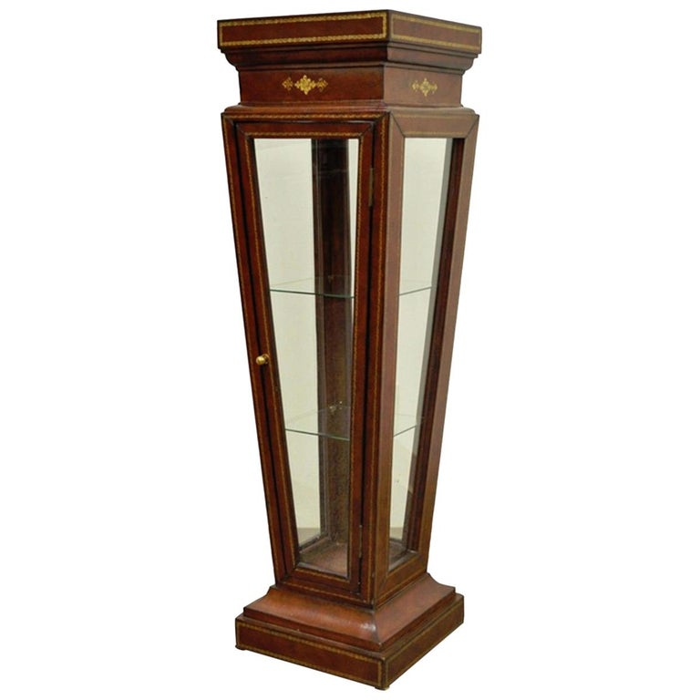 Burgundy Tooled Leather Glass Display Case Curio Stand Pedestal Maitland-Smith For Sale