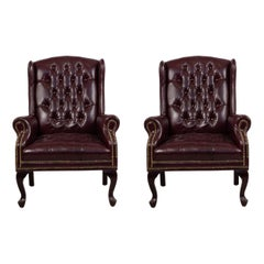 Burgundy Tufted Leather Wing Back Chairs