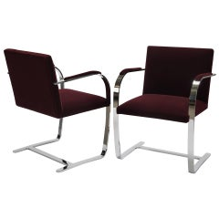Burgundy Velvet Brno Armchair with Chrome Frame, Knoll