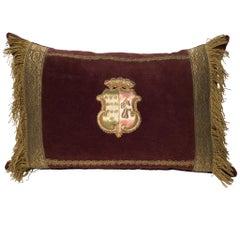 Burgundy Velvet Pillow with Antique Metallic Trim & Tassels