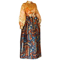 Burke Amey Silk Brocade Evening Gown Gold Tapestry S VTG 70s
