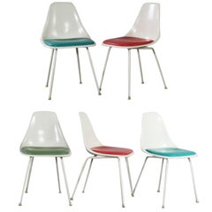 Burke Fiberglass #103 Shell Chairs with Padded Seats Set of 5 Mid-Century Modern