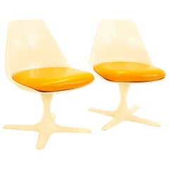 Burke Mid Century Orange Tulip Chairs, Pair