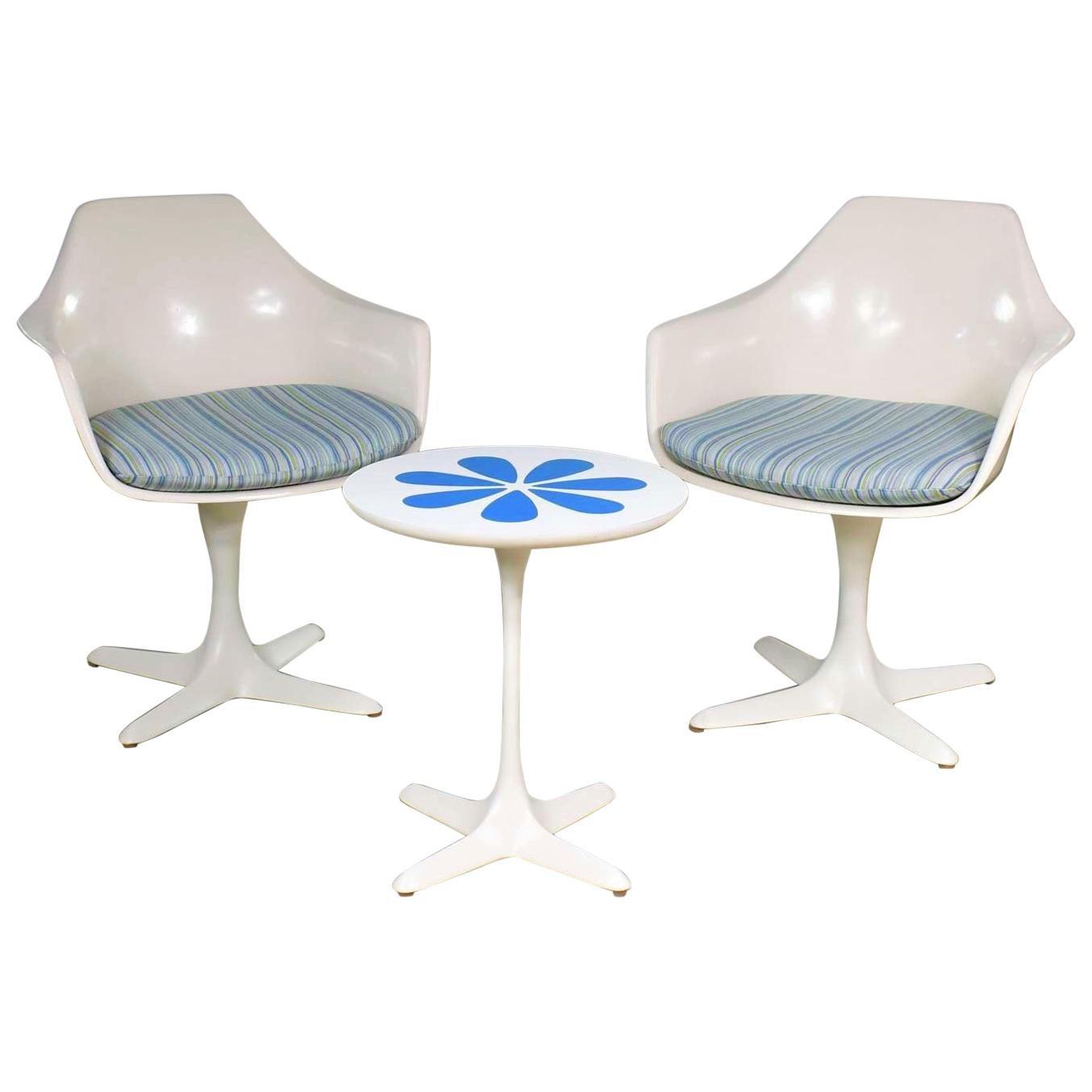 Burke Tulip Style Swivel Chairs & Side Table Mod Flower Petal Design Blue White