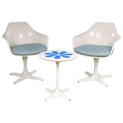Burke Tulip Style Swivel Chairs & Side Table Mod Flower Petal Design Blue White