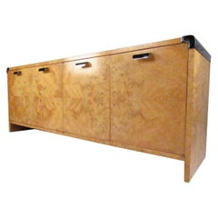 Burl and Chrome Credenza in the Manner of Milo Baughman