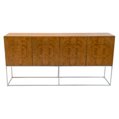 Burl and Chrome Floating Sideboard Credenza by Milo Baughman, 1970s