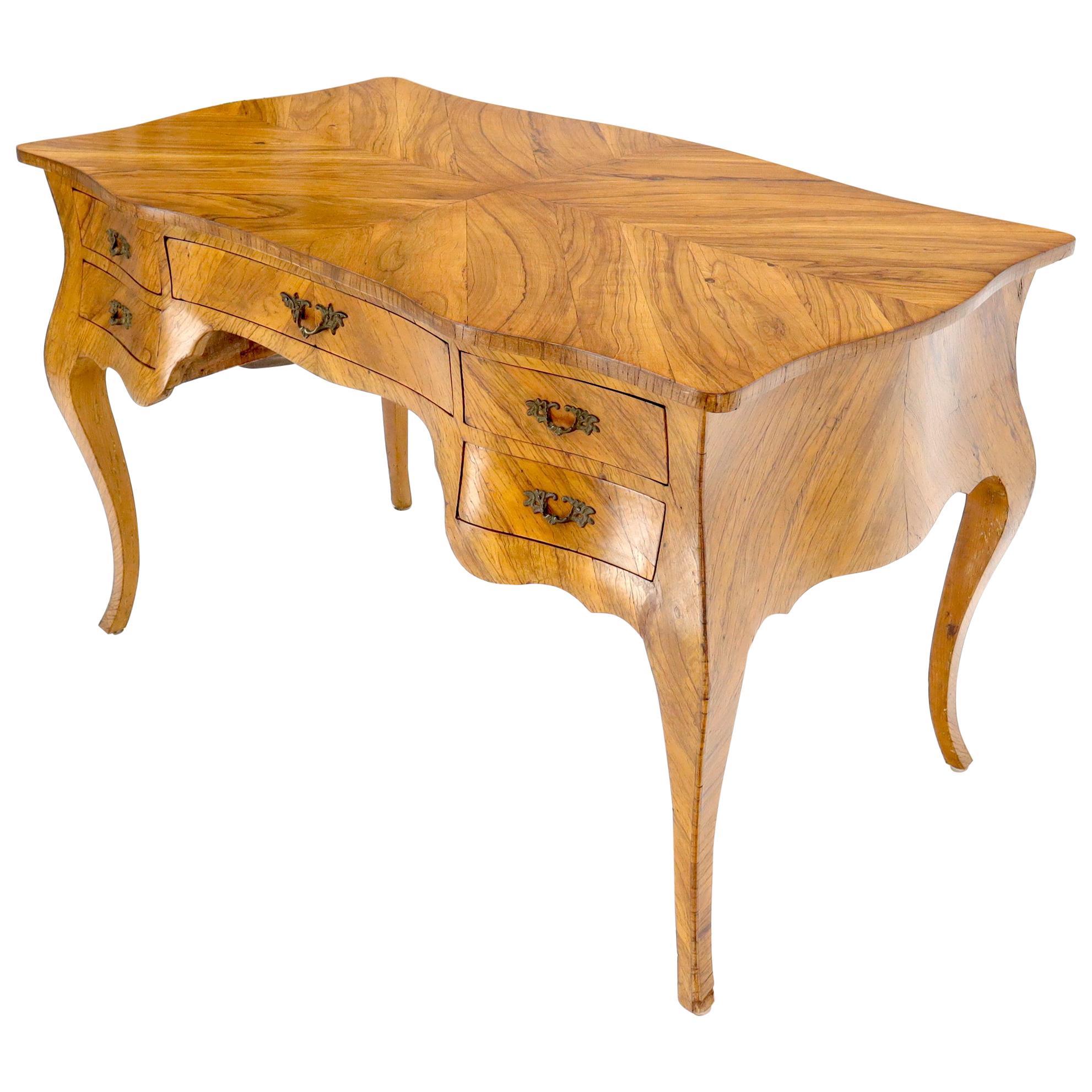 Burl and Olive Wood Italian 5 Drawers Bombay Shape Desk