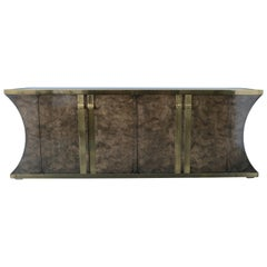 Burl and Vintage Brass Mastercraft Credenza or Sideboard