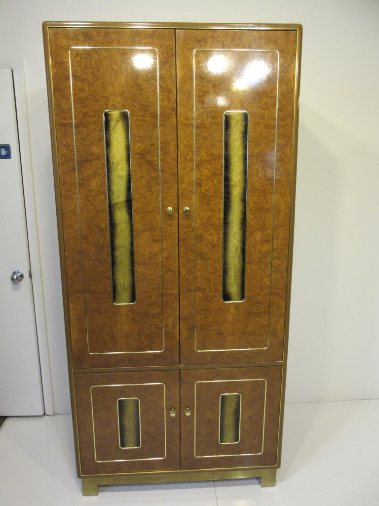 Burl / Brass Tall Chest or Armoire with Acid Etched Panels by Romweber For Sale 5