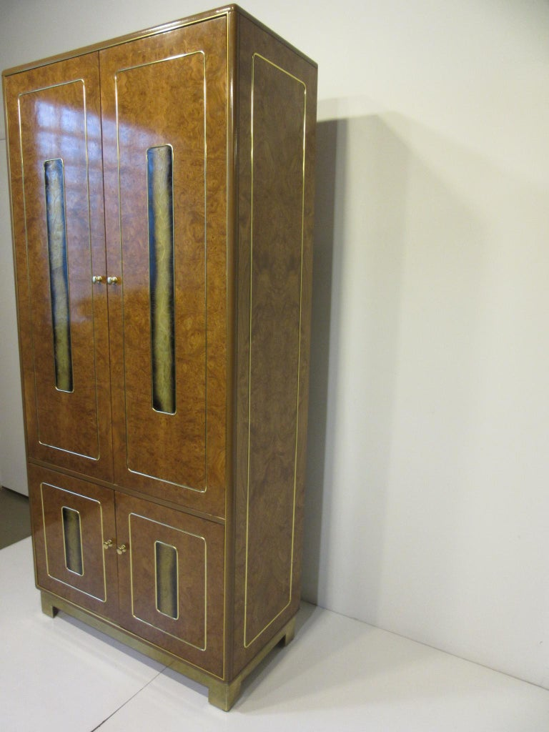 Burl / Brass Tall Chest or Armoire with Acid Etched Panels by Romweber In Good Condition For Sale In Cincinnati, OH