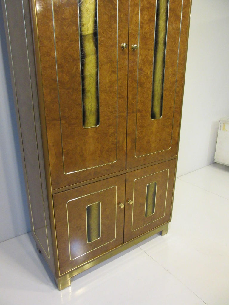 Burl / Brass Tall Chest or Armoire with Acid Etched Panels by Romweber For Sale 2