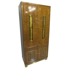 Burl / Brass Tall Chest or Armoire with Acid Etched Panels by Romweber